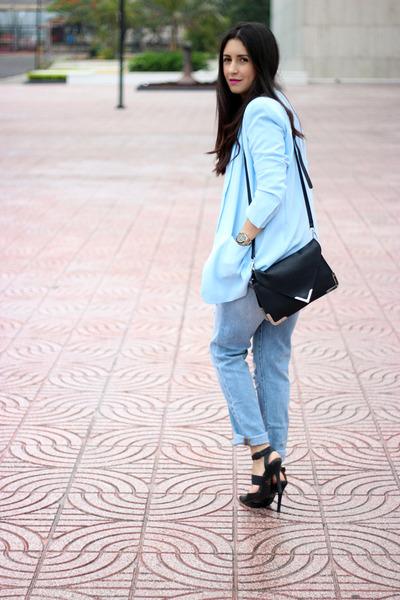 light blue Forever21 blazer - light blue Gap jeans - black Sole Society bag