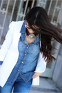 Blue-zara-jeans-white-forever-21-blazer-aquamarine-shoedazzle-bag