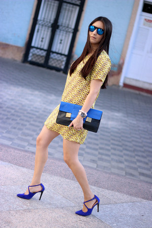 navy Sole Society bag - light yellow Lulus dress - blue Ebay sunglasses