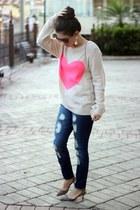 beige Forever21 sweater - white H&M bag - Stradivarius pants