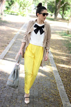 Transition to Fall: Plaid and DenimYellow Pants and Trench Coat