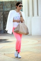 ivory Converse sneakers - salmon Forever21 jeans - white Forever21 blazer