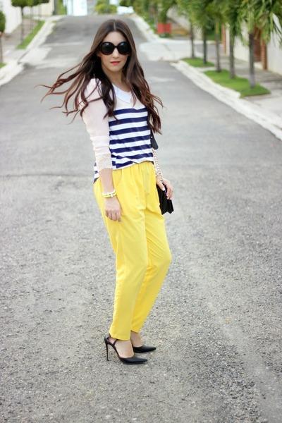 yellow Local store pants - black PERSUNMALL bag - black Shoedazzle pumps
