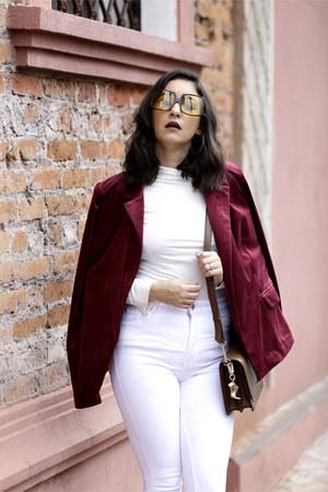 brick red velvet Forever21 blazer - white skinny jeans Zara jeans