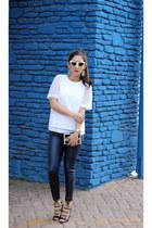 black Lulus bag - navy Express pants - black Shoedazzle heels