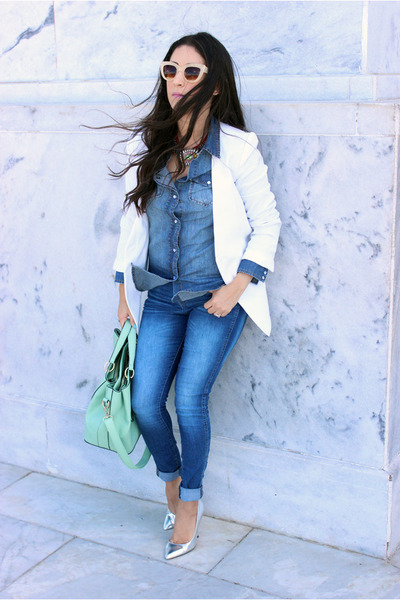 white Forever 21 blazer - blue Zara jeans - aquamarine Shoedazzle bag
