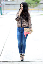Zara jeans - tan H&M bag - black Michael Kors sandals - suiteblanco blouse