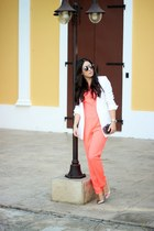 white Forever 21 blazer - coral Local store romper - silver Shoedazzle pumps