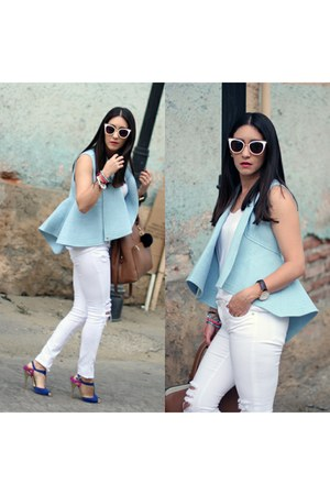 sky blue Local store vest - white Just Usa jeans - blue Shoedazzle heels