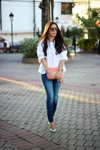 salmon Shoedazzle bag - blue Zara jeans - dark brown Urban Outfitters sunglasses