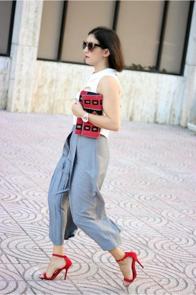red suiteblanco bag - ivory Local store top - red luluscom heels