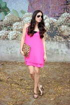 hot pink Forever21 dress - brown suiteblanco bag - bronze Nine West heels
