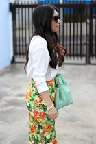 Local store skirt - white Bershka shirt - aquamarine Shoedazzle bag