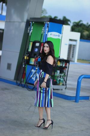 blue Gracia skirt - black Shoedazzle bag - black Shoedazzle heels