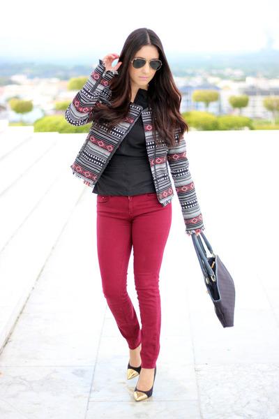 heather gray Local store jacket - ruby red Zara jeans - black Sisley bag