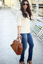 cream Forever21 sweater - blue Gap jeans - burnt orange Sole Society bag