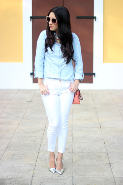 12727ebf88 light blue Stradivarius shirt - white Zara jeans - salmon Shoedazzle bag