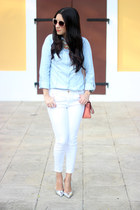 light blue Stradivarius shirt - white Zara jeans - salmon Shoedazzle bag