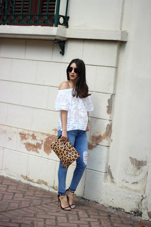 white Glam Fashion Store top - sky blue Flying Monkey jeans