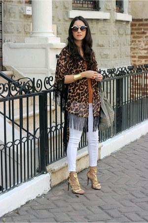 bronze Stradivarius top - dark brown Local store cape - white Zara pants