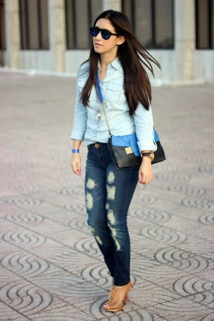 blue Stradivarius jeans - light blue Stradivarius shirt - black Sole Society bag