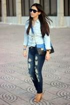 blue Stradivarius jeans - light blue Stradivarius shirt - black Sole Society bag