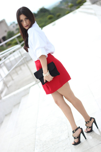 black Forever 21 bag - black Michael Kors sandals - red Forever 21 skirt