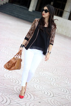 dark brown Lucy & Co blazer - white Zara jeans - burnt orange Sole Society bag