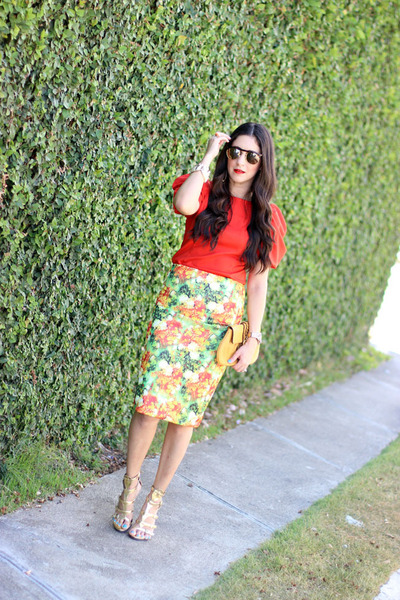 red Gracia top - mustard banana republic bag - gold Shoedazzle heels