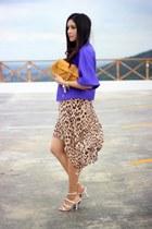mustard banana republic bag - brown Forever 21 dress - purple Local store jacket