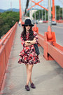 Brick-red-bebe-dress-black-forever-21-hat-crimson-shoedazzle-flats