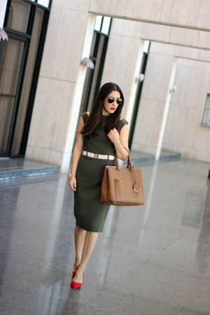 army green Local store dress - bronze Zara bag - red Shoedazzle pumps