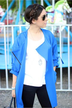 blue Sheinsidecom coat - black J Brand jeans - white Zara top