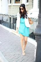aquamarine Local dress - white Sheinsidecom blazer - camel Alfani bag