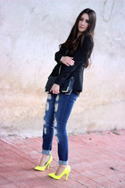 black Sole Society bag - blue Stradivarius jeans - yellow Ebay pumps