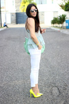 yellow Ebay pumps - white Zara jeans - aquamarine Shoedazzle bag