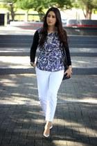 navy Forever21 blouse - white Forever21 pants