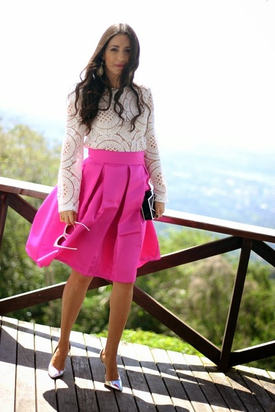 hot pink Dressmaker skirt - black luluscom bag - silver Shoedazzle heels