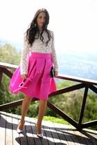 hot pink Dressmaker skirt - black luluscom bag - silver Shoedazzle heels