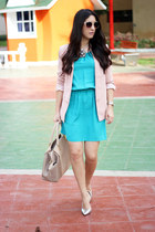 turquoise blue Local store dress - light pink Forever21 blazer