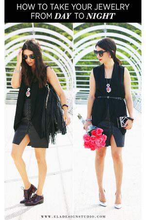black Forever 21 vest - black H&M skirt - black Stradivarius top