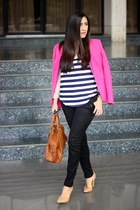 pink H&M blazer - bronze Sole Society bag - blue Ebay sunglasses