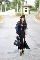 black vintage dress - black Sisley bag - navy Forever21 cape