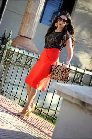 carrot orange Gracia skirt - nude suiteblanco bag - black Gracia top