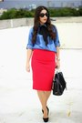 Blue-thrifted-vintage-shirt-black-shoedazzle-bag-red-local-store-skirt