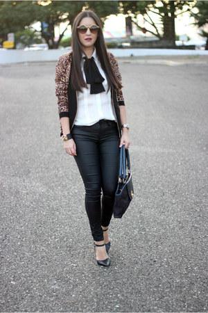 black Local store pants - dark brown Local store blazer - black Shoedazzle pumps