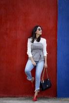 black Parfois bag - red VIZZANO heels - silver Forever21 top