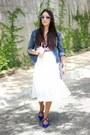 Blue-lab-jacket-ivory-local-store-skirt-black-zara-blouse