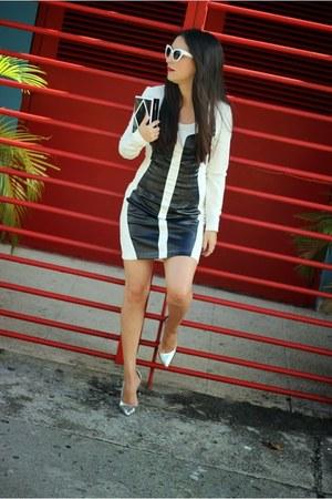 black Lulus bag - white statement dress - silver Shoedazzle heels