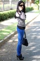 black Via Uno boots - white Forever 21 sweater - black sisle bag